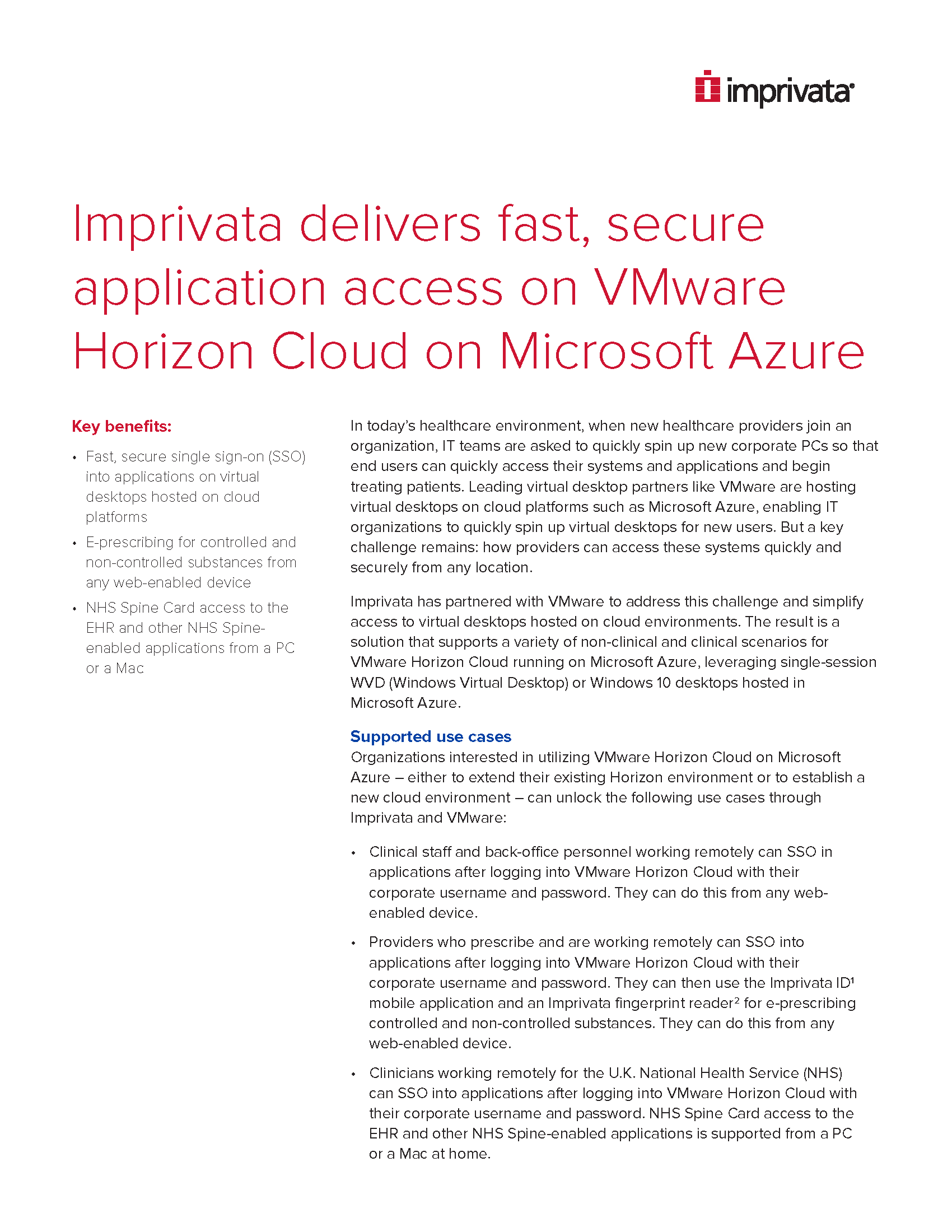 Imprivata delivers fast, secure application access on VMware Horizon Cloud on Microsoft Azure
