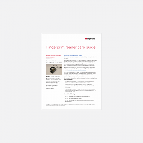 Image of fingerprint reader care guide