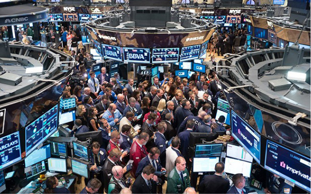A busy NYSE trading floor